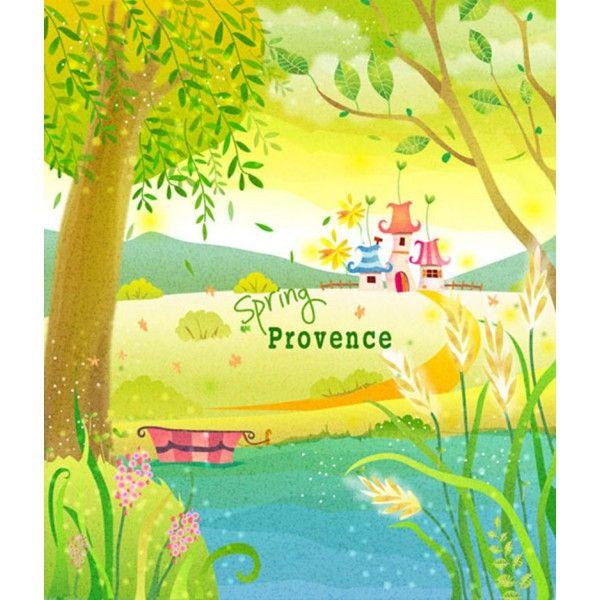 paysage dessiné à la main décoration style naïf papier peint personnalisé printemps à la campagne