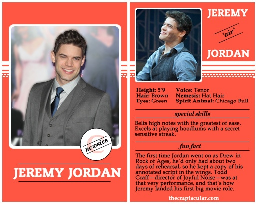 Jeremy Jordan Player Card. I don't know what this is but it made me laugh.