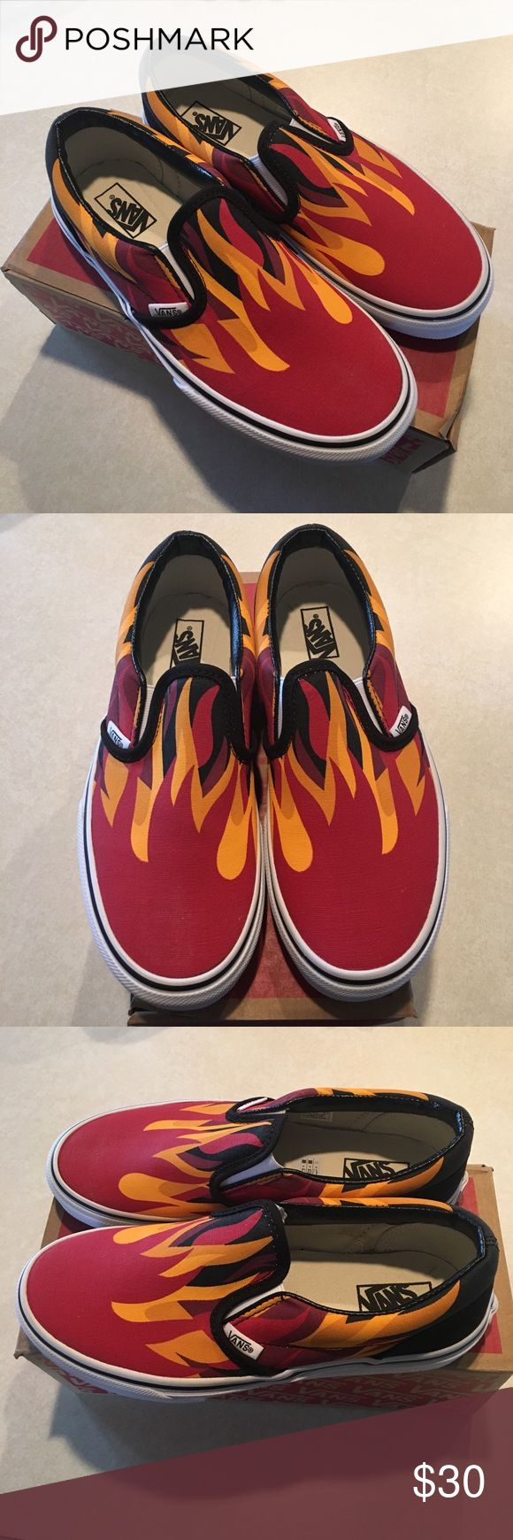 NEW 🔥 youth Vans Classic Slip-on Brand new in box! Vans Classic Slip on shoes. Never worn. Racing red, black, with flame design. Box has some Sharpie on it but the shoes are in mint condition. Vans Shoes Sneakers