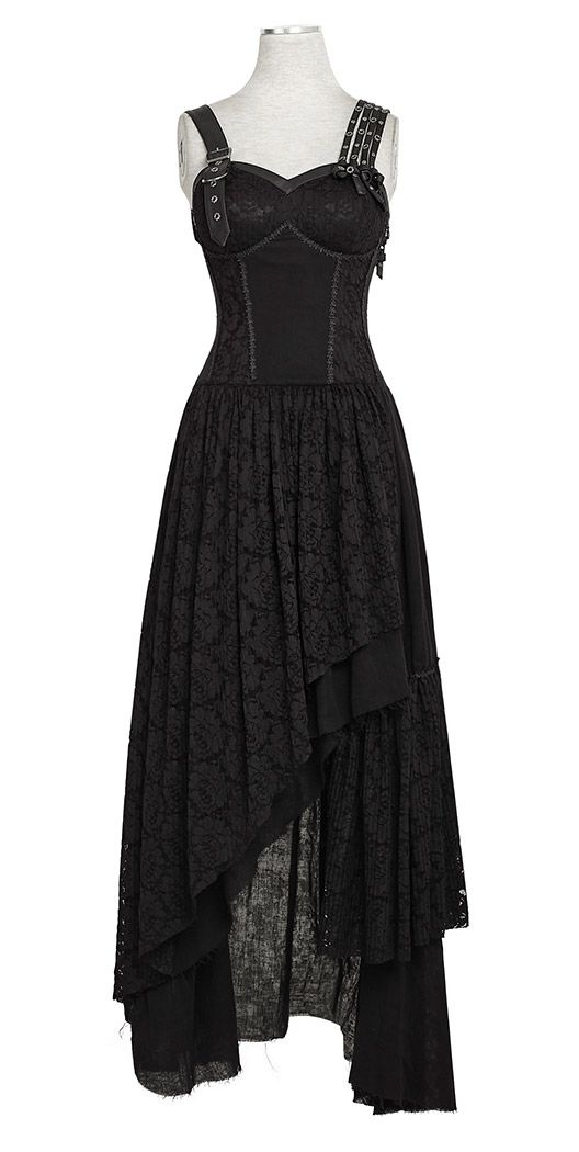 Long, asymmetrical Gothic dress with a flower pattern (black): Punk Rave