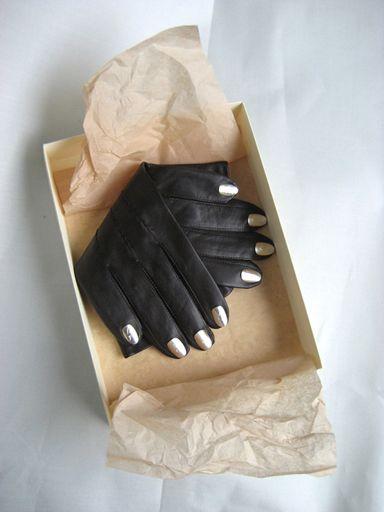 Skórzane rękawiczki z paznokciami