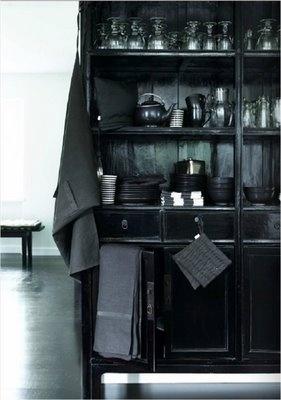 : Interior Design, Idea, All Black, Black Kitchen Cabinet, Black Cabinets, Interiors, Black Kitchens, Furniture