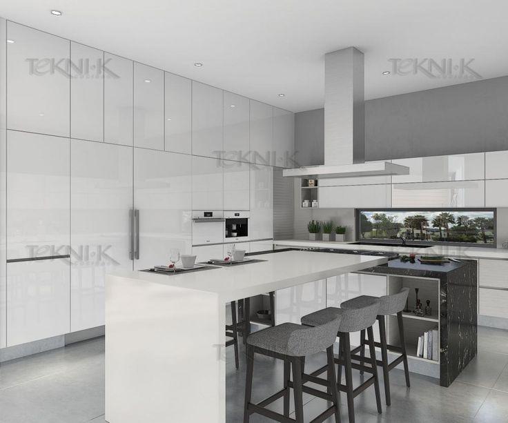 Cocina linea milan alacenas en cristal extra blanco y for Cubiertas minimalistas