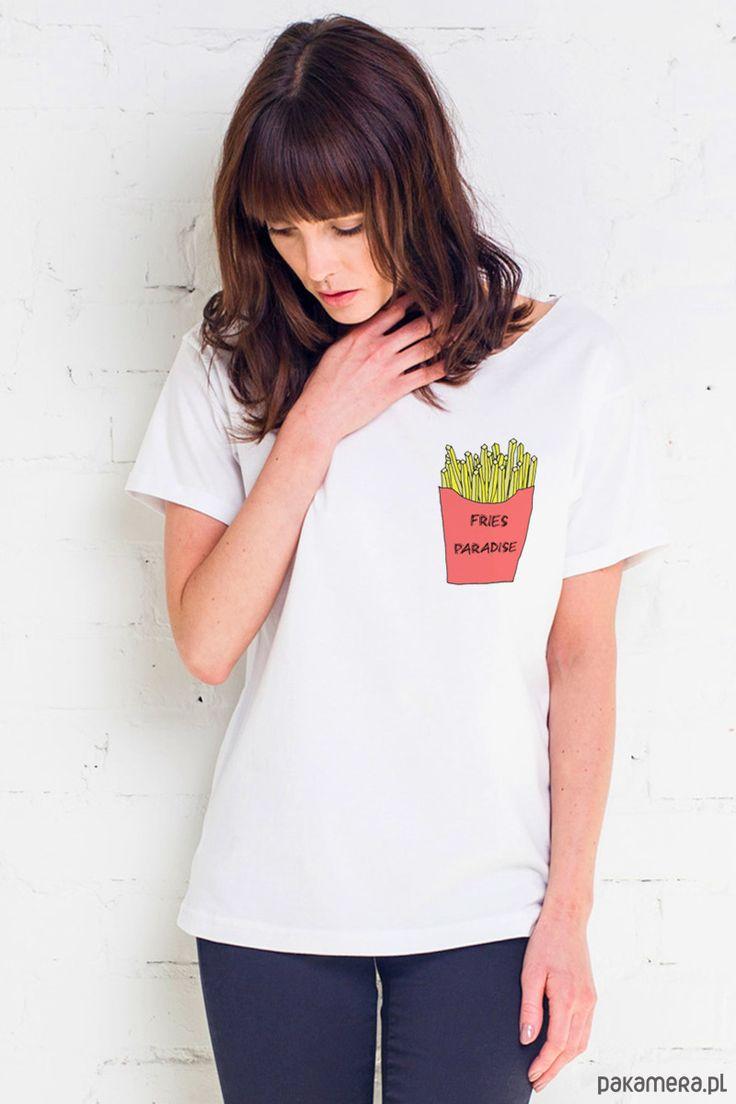 bluzki - t-shirty - damskie-FRIES IN POCKET Oversize T-shirt