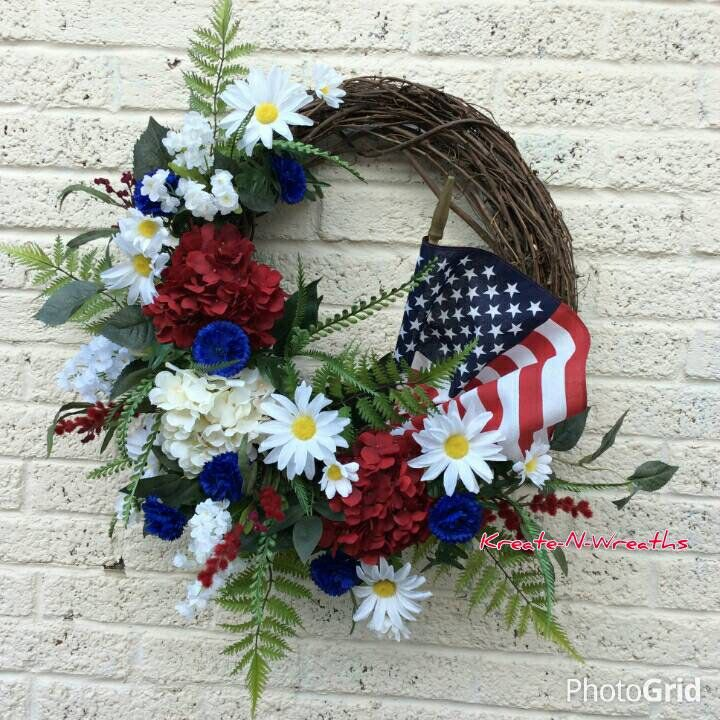 American Flag Wreath, Patriotic Wreath,4th of July Wreath, Patriotic grapevine Wreath,Memoral Day Wreath, Hydrangeas Daisy frontdoor wreath