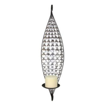 crystal circle metal candle wall sconce black