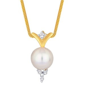 Design is made with mixture of pearl & Diamonds. One of the good design in low wt. & lower prices too. Use of Moti (pearls) gives bigger look to your pendent. Single stone is used in top of pearl & other four stones are used in bottom to give attractive look to  design..