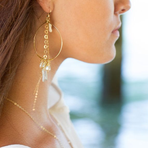 SOLANA - 14k gold fill hoop chandelier earrings with coral freshwater pearls, green amethyst, gold dangle hoop earrings, gold beach earrings