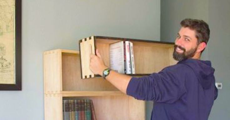 This Dad Makes A Bookshelf Inspired By Thomas Jefferson via LittleThings.com