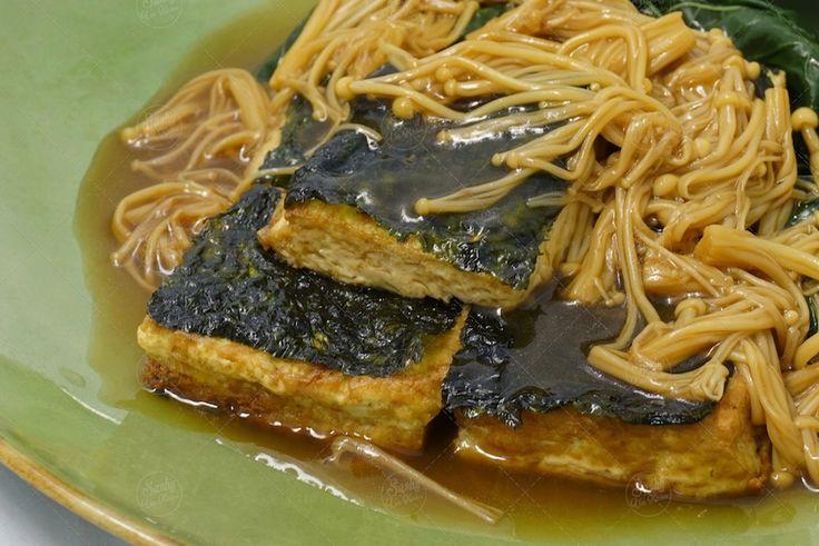 Braised Tofu with Seaweed and Mushroom