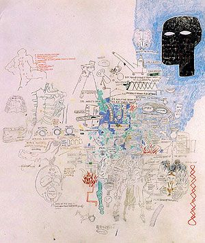 "Jean-Michel Basquiat - Untitled, 1986, in acrylic, crayon, graphite, and coloured pencil on paper,  42""x30"""