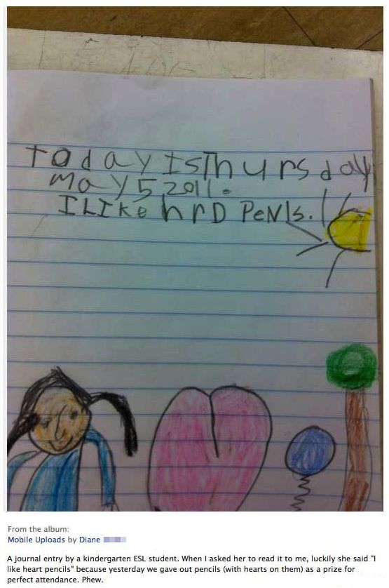 Little girl was trying to say she likes heart pencils.: Photo Kids, Children, Schools Work, Heartpencil, Funny Stuff, Funnies, Kids Note, Funny Photo, Heart Pencil