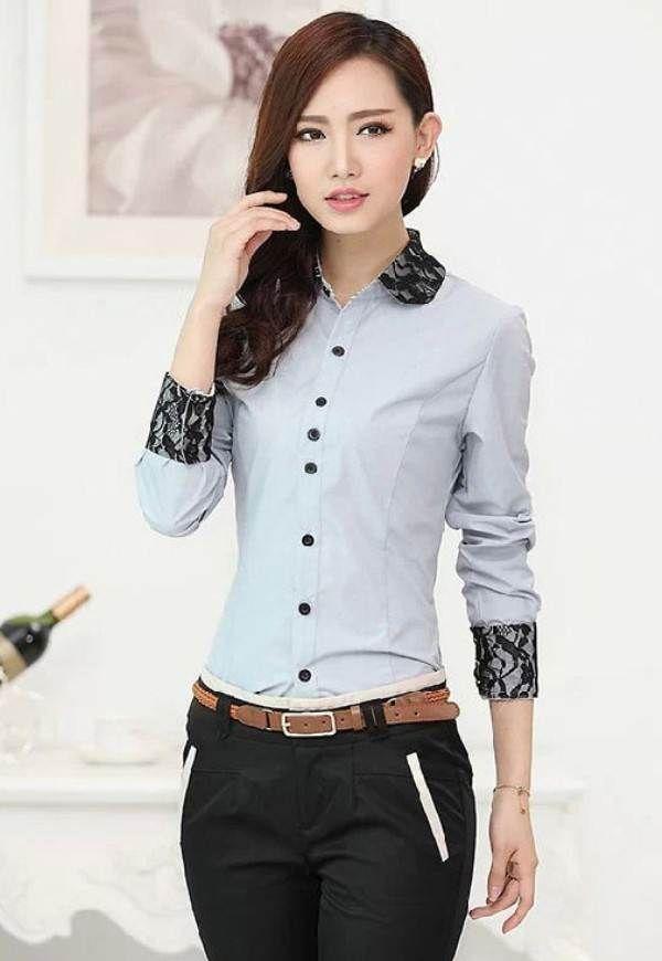 Jual Baju Kemeja Blouse Kerja Kantor Formal Wanita Import B211821 Grey Blue…