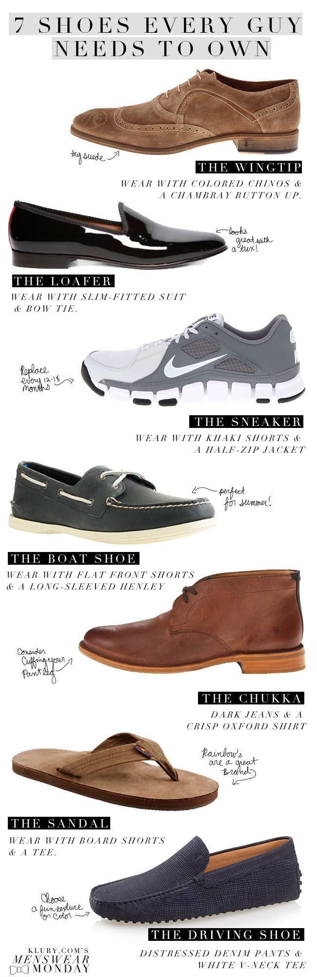 7 Shoes Every Guy Needs To Own #mensfashion #infographic
