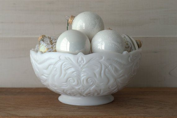 Large Ornate Pres Cut Milk Glass Bowl by 2ndhandChicc on Etsy