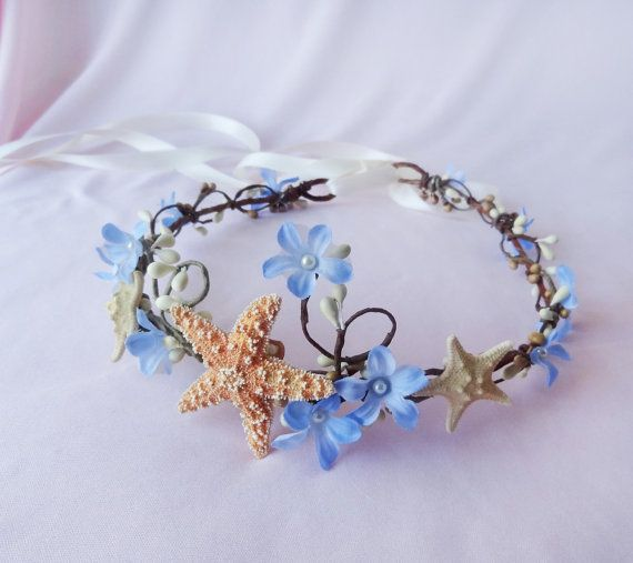 seashell hair accessory, starfish headband, beach wedding, head piece, hair circlet - SEA NYMPH - periwinkle blue flower, mermaid