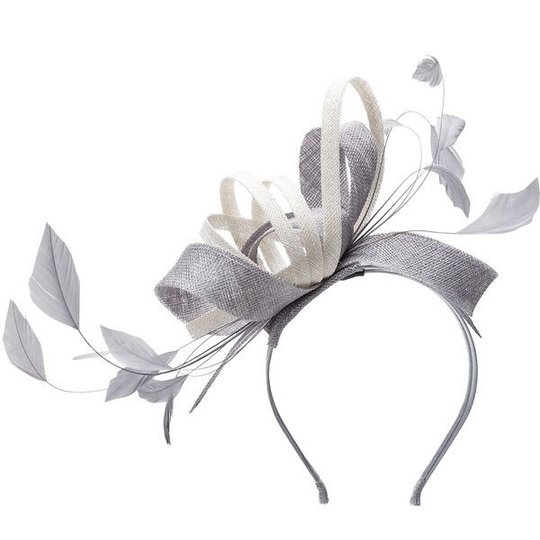 Mascara Silver / Ivory-White Plus Size Two tone feather fascinator (433.425 IDR) ❤ liked on Polyvore featuring accessories, hair accessories, plus size, silver, fascinator headband, ivory fascinator, silver hair accessories, white feather fascinator and flexible headbands
