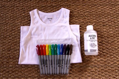 decorating shirts, etc. w/ sharpies and rubbing alcohol. i see some cool new cloth napkins, canvas totes, tshirts, etc. in our future. fun DIY!