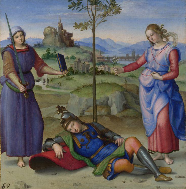 //// 라파엘로 <기사의 꿈> -1504~1505년 제작 //// 개인적으로 좋아하는 화가인 라파엘로의 작품이다. <스키피오의 꿈>이라고도 알려져있는 작품이다. 가운데에는 잠든 기사가 보이고 왼쪽의 소박한 옷을 입고 있는 여자는 칼과 책을 그에게 권하고 있으며 오른쪽의 화려한 옷을 입고 있는 여자는 그에게 은매화 가지를 내밀고 있다. 왼쪽의 여자는 학문과 무술을, 오른쪽의 여자는 쾌락을 상징하고 있는 것이다. 이 두 대비를 통해 올바른 길과 그릇된 길에 대한 기사의 갈등을 보여주고 있다. 이러한 내적갈등이 그가 잠들었을 때 꿈으로 나타난다는 사실이 흥미롭다. 꿈이 무의식의 반영이자 사람의 가장 솔직한 부분을 보여주기 때문이 아닐까 싶다. 꿈이기 때문에 사랑, 쾌락과 같은 부분이 나타날 수 있는 것이다. 꿈은 이성의 상태가 보여줄 수 없는 부분들을 보여준다. 꿈의 창조력의 한 부분이다.
