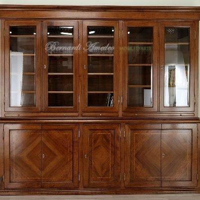 Italian classic bookcase, solid walnut, rosewood inlay.