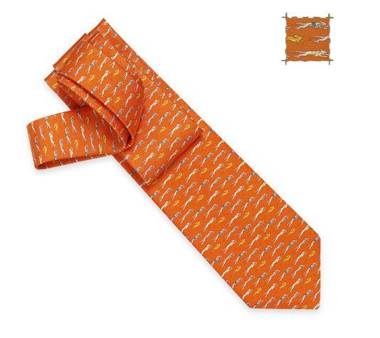 Cynodrome  Hermes silk twill tie, hand-folded, 3.15''