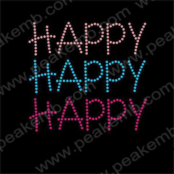 Happy Happy Happy Rhinestone Heat Press Transfers Wholesale