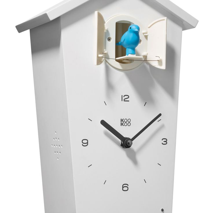 Cuckoo Clock Bird House, A Modern White Wall Clock With 13 Genuine Bird  Voices Recorded In Nature.