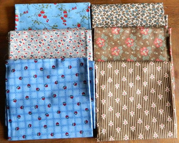 Moda FQ fabric bundle of 6 fat quarters cotton fabric for