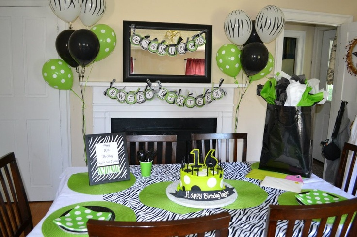 Tayor's 16th Birthday.  Zebra, Polka Dot, Lime Green, Black and White.  Purchased printable party pack from Etsy to make the framed sign and banner.