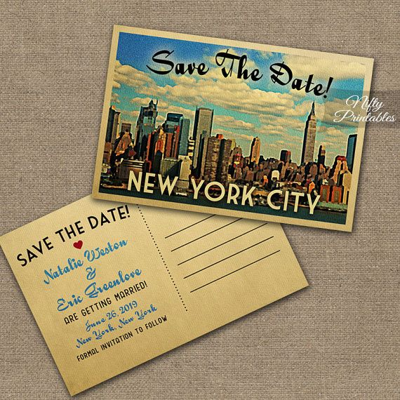 New York Save The Date Postcards - Printable New York City Skyline Postcard - Retro NYC Save The Date Cards VTW