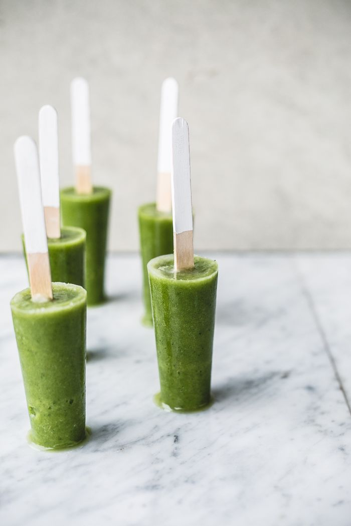 Green Smoothie Detox Pops -- 1 apple, cored and cut up into chunks 2 cups green grapes juice of 1 lemon 2 tbsp honey or agave 2 cups chopped kale, packed 1 cup cubed zucchini 1/4 to 1/2 cup water 1 avocado, peeled + de-stoned