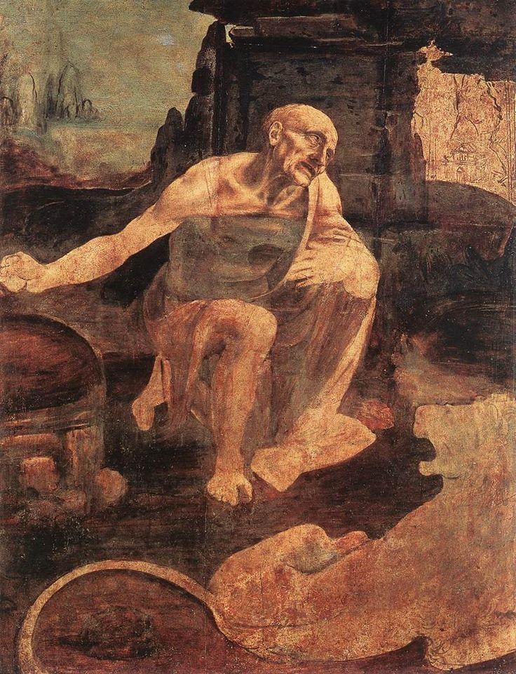 St. Jerome in the Wilderness (unfinished) (1480) by Leonardo da Vinci is at the Musei Vaticani, Rome