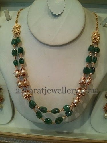 Two Rows Pretty Beads Set 23gms | Jewellery Designs