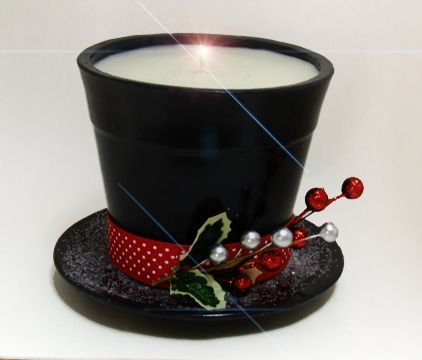 Snowman Hat candle. You could paint a flower pot black for a similar results. To put outside at Christmas !