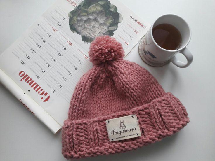 Lovely morning! #knithat #hat #caciula # caciulatricotata #pink #roz #pompom