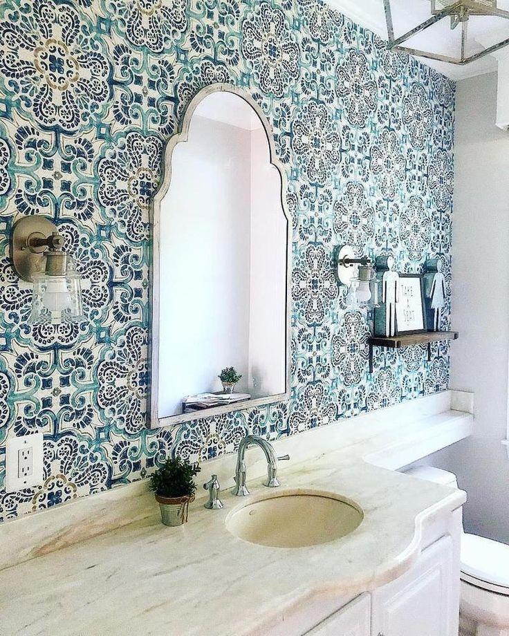 WallPops Blue Florentine Medallion Tile Wallpaper (With