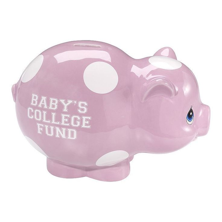 "Precious Moments ""Baby's College Fund"" Pink Piggy Bank"