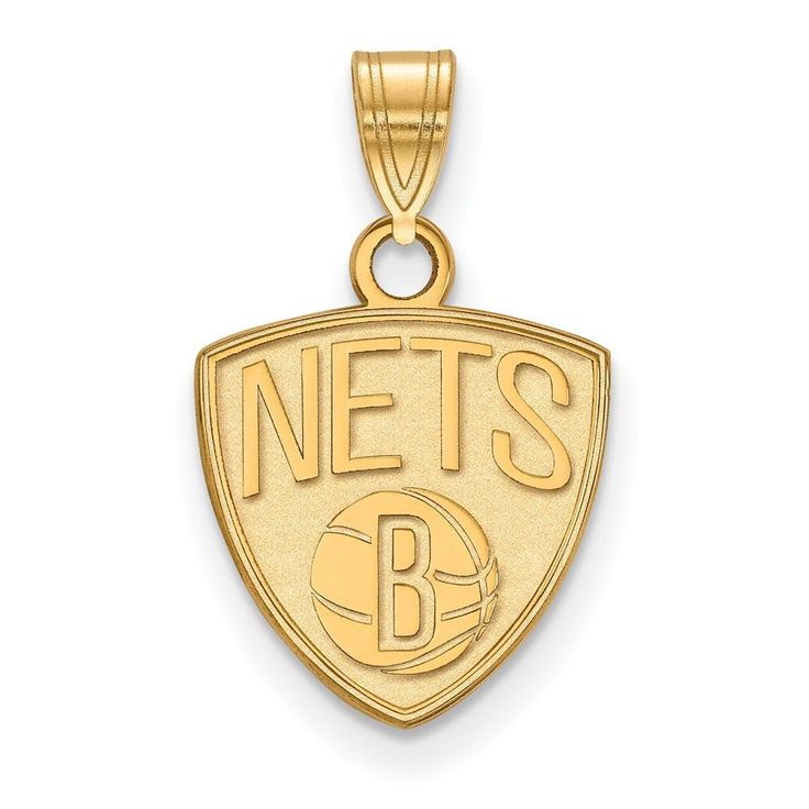 Sterling Silver w/GP NBA LogoArt Brooklyn Nets Small Pendant
