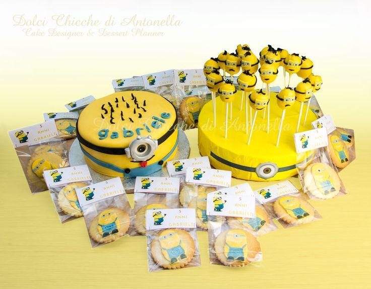 minions cake, cookies, cake pops