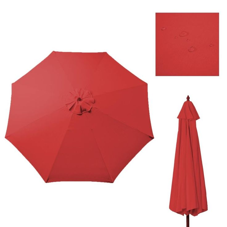 9Ft Patio Umbrella Cover Canopy Replacement Top Outdoor Tan Red For 8 Ribs