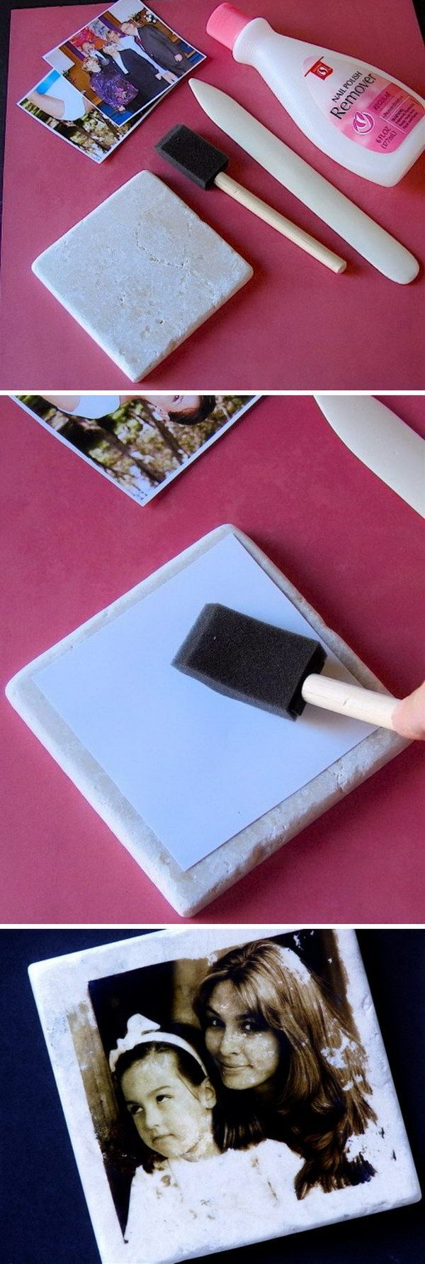 Transfer Pictures to Tiles by Using Nail Polish Remover.