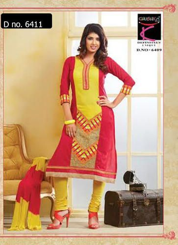 Beautifully designed cotton Straight cut Salwar Suit Pink and Yellow with beautiful embroidery work done. Comes along with Matching Cotton Bottom and Chiffon Duppatta.