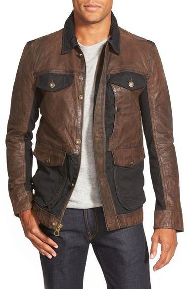 Main Image - Timberland 'Tenon' Leather & Twill Mixed Media Jacket