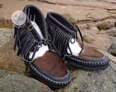 Brown Leather Moccasins With Hairy Cowhide, Brown Moccasin Boots, Womens Moccasins, Leather Moccasins, Hippie Moccasins, Cowgirl Brown Boots