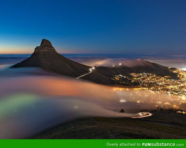 Fog rolling into cape town