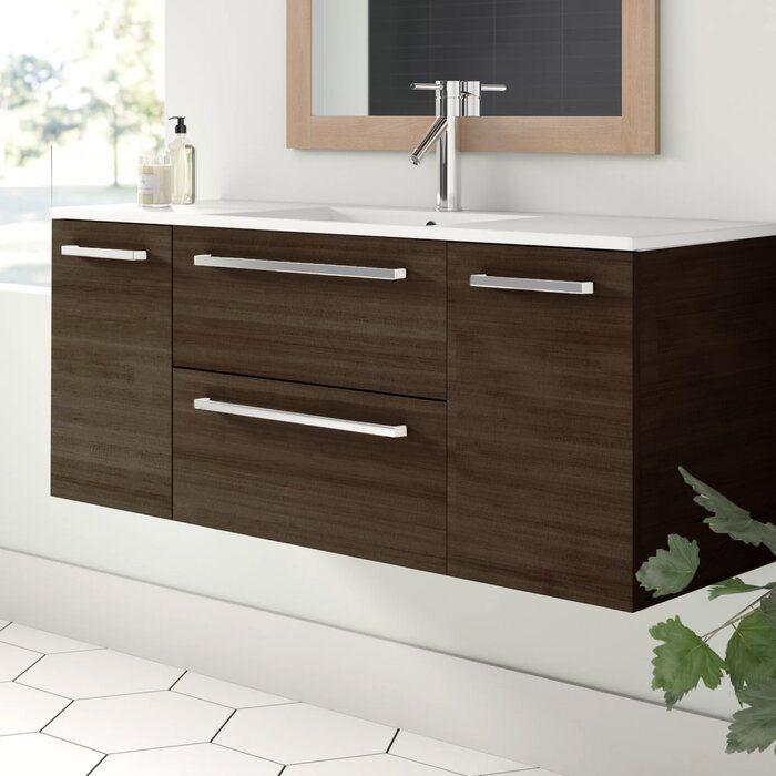 Mcpeak 48 Wall Mounted Single Bathroom Vanity Set Reviews Allmodern Single Bathroom Vanity Simple Bathroom Contemporary Bathroom Vanity