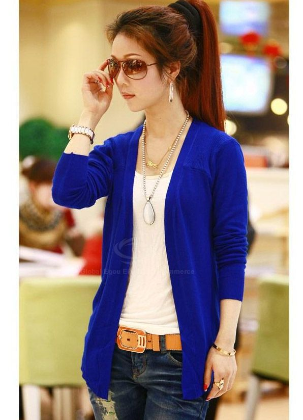 Casual Style Candy Color Buttonless Asymmertric Hem Long Sleeve Knitting Women's Cardigans