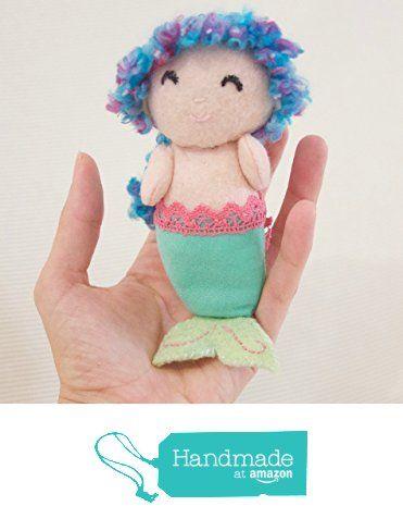 Handmade wool blend felt miniature mermaid, caucasian with blue hair and aqua tail. from La Chulona Handmade Dolls https://www.amazon.com/dp/B01HLGBW6G/ref=hnd_sw_r_pi_dp_00aHxbF2TZG7C #handmadeatamazon