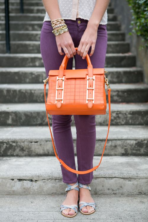 How's that for a pop of color?: Chloe Rose, Clothing Bags Sho, Color Combos, Fashion Style, Pop Of Color, Clothing Accessories, Colors, Orange Purse, Orange Bags