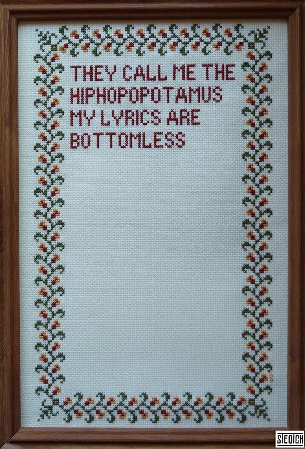 hiphopopotamus cross-stitch by STEOTCH
